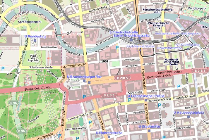 Abb. 1: Ausschnitt im OSM Stil © OpenStreetMap und Mitwirkende, CC BY-SA