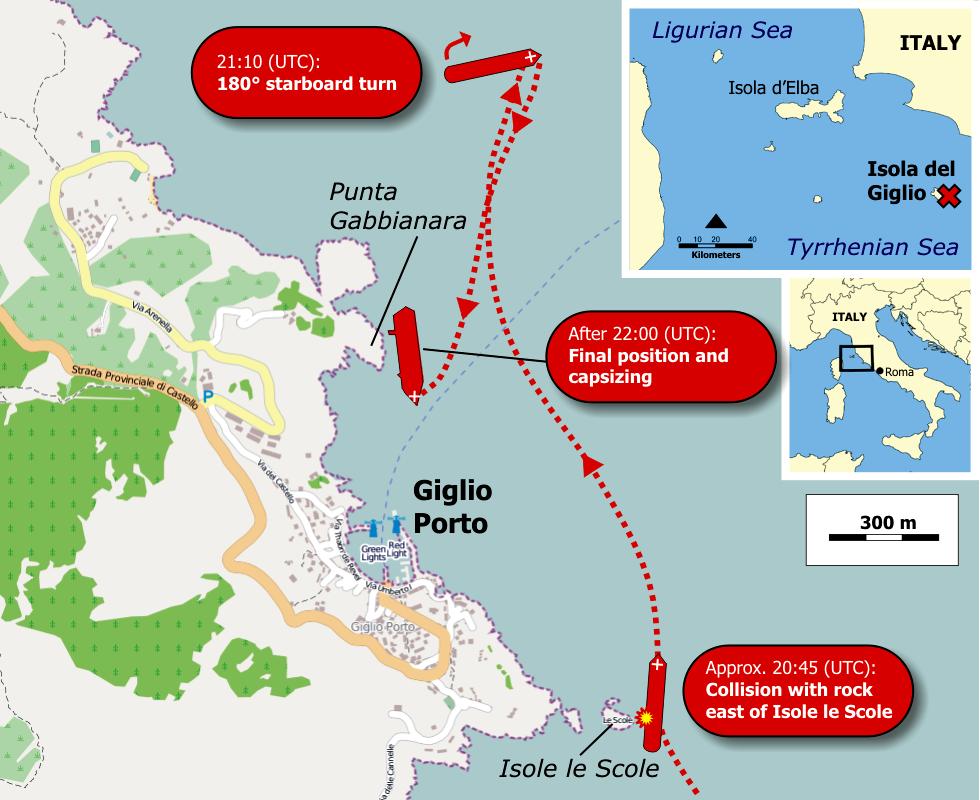 Location of Costa Concordia cruise-ship disaster (13-1-2012)