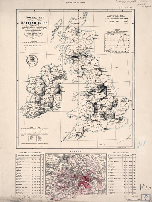 Abb. 1: Cholera Map of the British Isles von AugustPetermann (1848) (© Staatsbibliothek zu Berlin)