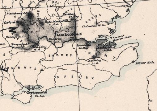 Abb. 2: Kartenausschnitt, dunklere Tonwerte weisen auf eine größere Cholera-Mortalität hin (© Staatsbibliothek zu Berlin).