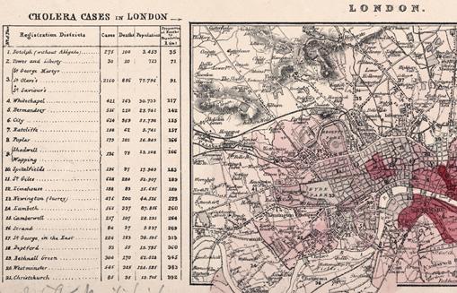 Abb. 3: Kartenausschnitt, eine Choroplethenkarte wird eingesetzt, um die Cholera-Mortalität in den Londoner Stadtbezirken darzustellen (© Staatsbibliothek zu Berlin).