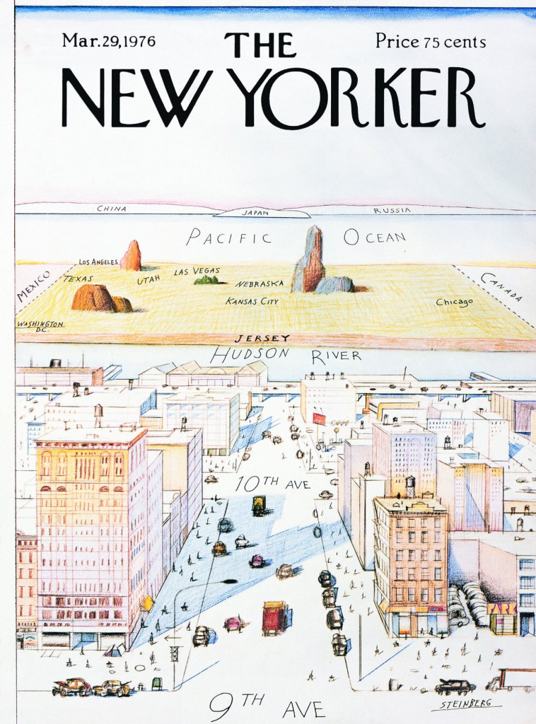 "Abb. 1: ""View of the World from 9th Avenue"", 1976. Tusche, Bleistift, Farbstift und Wasserfarbe auf Papier, 28 x 19"" © The Saul Steinberg Foundation"