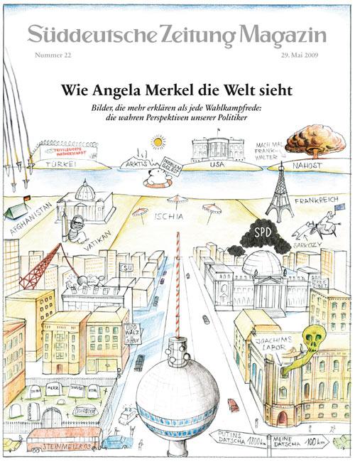 """Abb. 3: Die perspektivisch verzerrte Karte erfreute sich als Poster so großer Beliebtheit, dass es einige Nachahmer gibt, z.B. """"Wie Angela Merkel die Welt sieht"""", Illustration von Dirk Schmidt, erschienen im Magazin der Süddeutschen Zeitung, 2009. <a href=""""http://www.wasmachtdirk.de/articles/Welt/article.php"""">(http://www.wasmachtdirk.de/articles/Welt/article.php)</a>"""