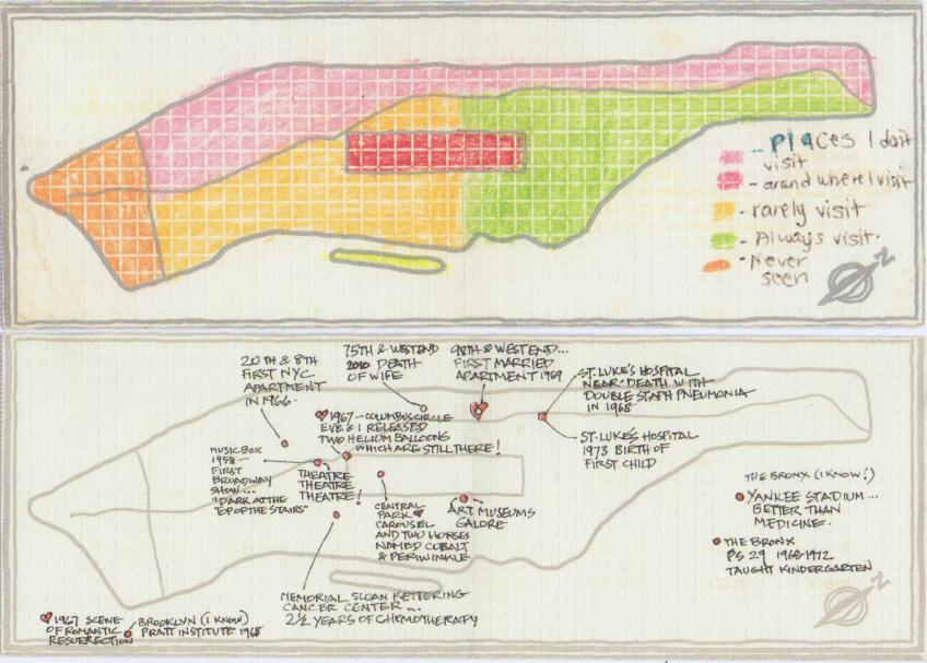 Abb. 2: Interessant ist, was die Teilnehmer preisgaben, manche erzählten lediglich wo sie sich in der Stadt bewegen, andere wiederum definierten ganz bewusst Orte und beschrieben sie. © Cooper, R. (2013) Mapping Manhattan, S. 18, 110.