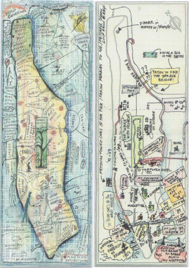 Abbildung 4: Farbe wird zumeist als Akzent eingesetzt um Einträge hervorzuheben. © Cooper, R. (2013) Mapping Manhattan. S. 85, 93