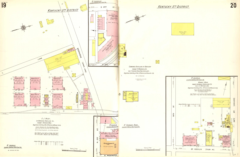 Die jeweiligen Ausgaben der Karten werden gebunden, wie diese Abbildung zeigt. Zu sehen ist die Bernheim Distilling Co., eine Whisky Destillerie in Louisville, Kentucky. Tatsächlich wird auch angegeben, dass eine alte Destillerie bereits durch ein Feuer zerstört wurde. © Sanborn