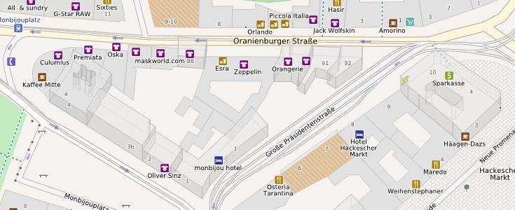 Dreidimensionale Gebäude in Berlin in OpenMapSurfer