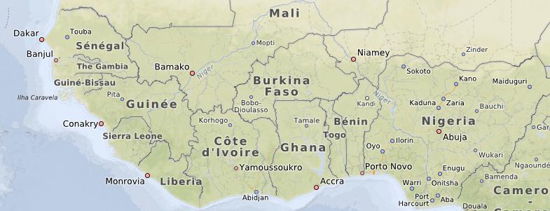 OpenMapSurfer in niedriger Zoomstufe in Afrika