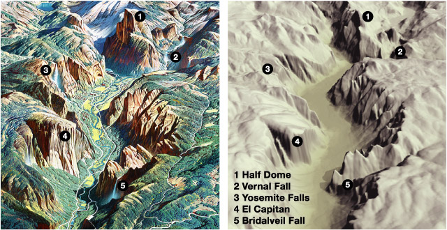Abb. 5: Ein Vergleich eines Details der Panoramakarte des Yosemite Nationalparks von H. Berann mit einem Digitalen Geländemodell (30 meter USGS DEM) zeigt kleine künstlerische Freiheiten (© Tom Patterson, 2000, http://www.shadedrelief.com/berann/yosemite_val.html)