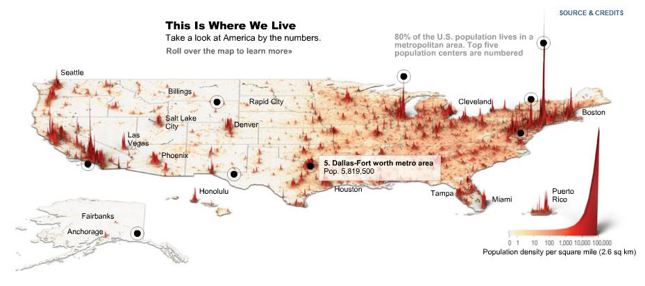 Die Bevölkerungsdichte der USA © TIME graphic by Feilding Cage