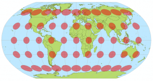 Verzerrungsellipsen zeigen die Verzerrungseigenschaften der vermittelnden Robinson Projektion (Stefan Kühn (Eigenes Werk), CC-BY-SA-3.0, via Wikimedia Commons)