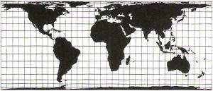 Die flächentreue Behrmann Projektion (© DGfK, 1985)