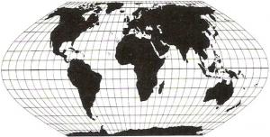 Die flächentreue Eckert Projektion (© DGfK, 1985)