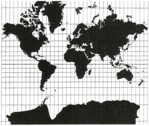 Die strecken- und winkeltreue Mercator Projektion (© DGfK, 1985, S. 4)