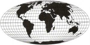Die flächentreue Mollweide Projektion (© DGfK, 1985)