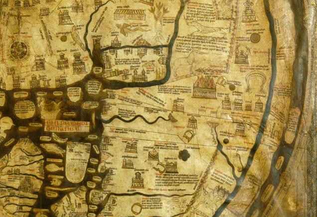 Abb. 3: Detilausschnitt: Jerusalem, im Bild als kreisförmiges Symbol links oben, befindet sich im Zentrum der Karte, darunter ist das Mittelmeer zu sehen und rechts außen der Nil. © Herford Cathedral