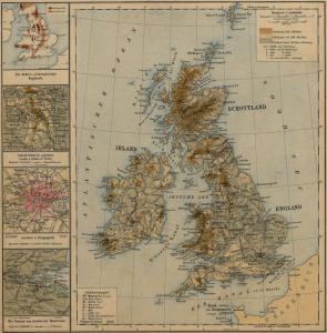 Karte der Britischen Inseln in der Ausgabe von 1891 [Georg-Eckert-Institut - Leibniz-Institut für internationale Schulbuchforschung ]