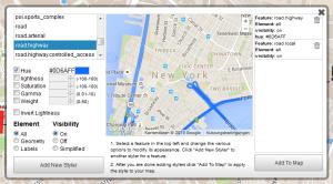 Abb. 3: Gestaltung der Google Maps Straßenkarte in Scribble Maps (www.scribblemaps.com)
