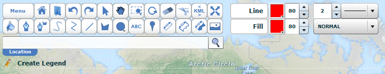 Abb. 5: Werkzeugleiste in Scribble Maps Pro (http://pro.scribblemaps.com/ )