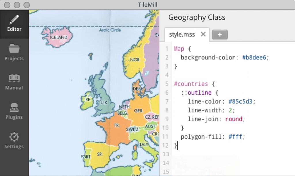 Tilemill Editor Ansicht - Bild von Mapbox