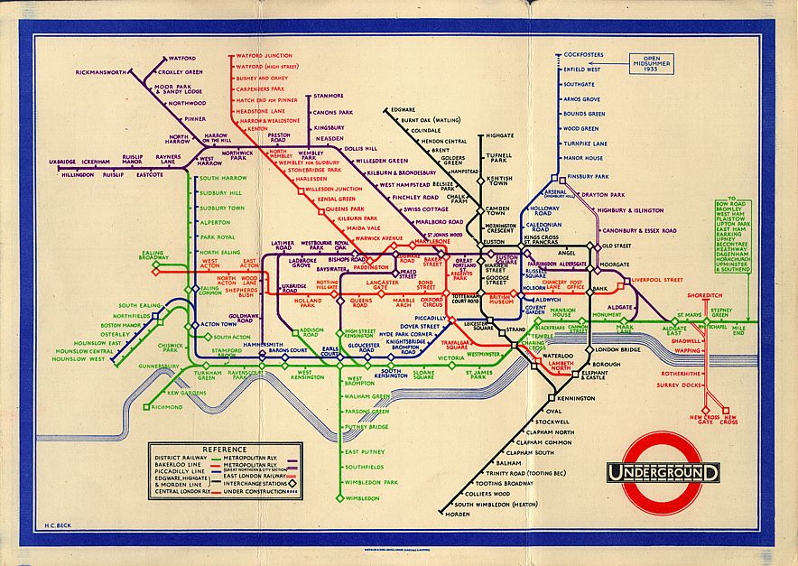 Becks Tube Map fand nach anfänglicher Skepsis große Beliebtheit und wurde schließlich 1933 als regulärer Liniennetzplan vom damaligen The London Passenger Transport Board (heute Transport for London (TFL)) eingesetzt. (© Transport for London)