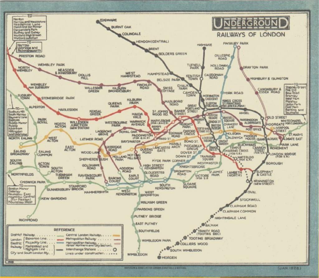 Abb. 2: Die Tube Map von 1926 wirkt im Vergleich zum schematischen Liniennetzplan von Beck unübersichtlich (© Transport for London).