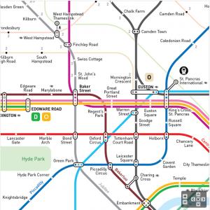 Abb. 3: Der U-Bahn-Liniennetzplan von London nach dem Metro Mapping Standard INAT (©INAT, Jug Cerovic).