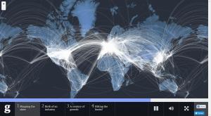 Auf Wunsch wird statisch das Flugnetz angezeigt. © The Guardian