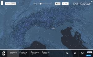 Die Richtung der Flugzeuge ist aufgrund der kometenhaften Schweife deutlich. Schön zu sehen ist auch das Relief der Alpen. © The Guardian