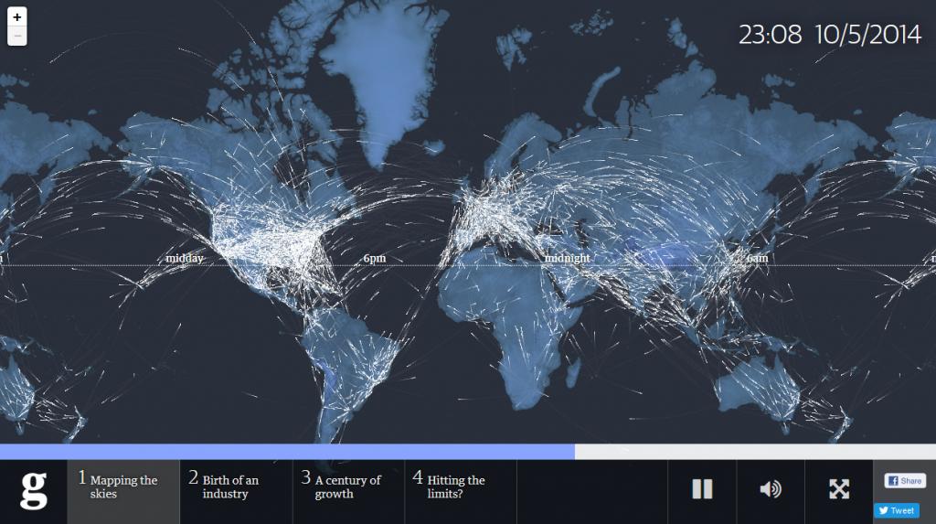 Das Herzstück: Die Visualsierung aller Flugezuge, die sich zu einem bestimmten Zeitpunkt in der Luft befinden. © The Guardian