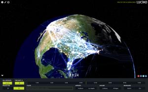 Der virtuelle Globus zeigt den Flugverkehr von 14. bis 15. Januar 2015 © LuciadRIA 3D