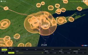 Der Luftraum und an- und Abflüge am Flughafen J F Kennedy in New York. © LuciadRIA 3D