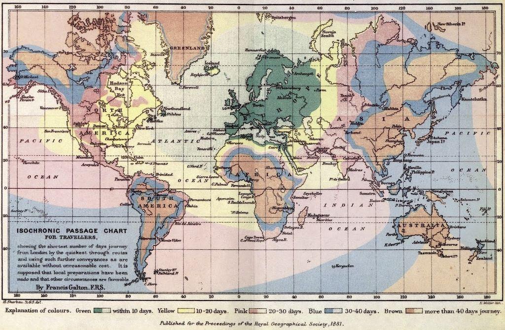Isochronenkarte von Francis Galton für die Royal Geographical Society, 1881