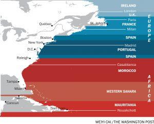 Die US-amerikanische Ostküste und die auf denselben Breitengraden liegenden Länder östlich davon.