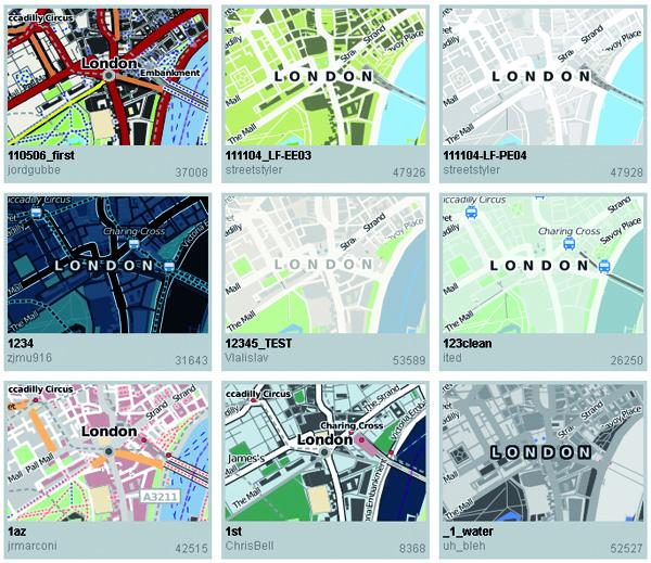 Abb. 2: Kartenstile im CloudMade Map Style Editor, CC BY-SA