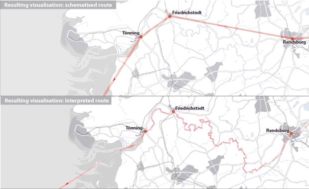 Abb. 2: Schematisierter (oben) und interpretierter Weg (unten) © Ein literarischer Atlas Europas