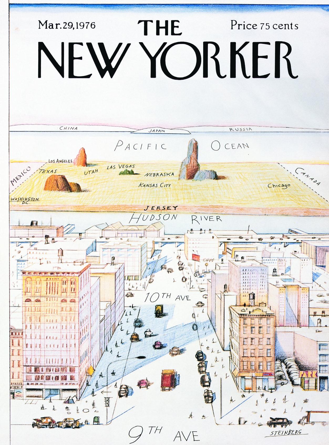 """Abb. 1: """"View of the World from 9th Avenue"""", 1976. Tusche, Bleistift, Farbstift und Wasserfarbe auf Papier, 28 x 19″ © The Saul Steinberg Foundation"""