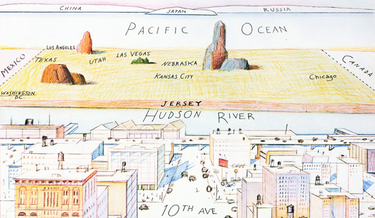 "Abb. 1: ""View of the World from 9th Avenue"", 1976. Tusche, Bleistift, Farbstift und Wasserfarbe auf Papier, 28 x 19″ © The Saul Steinberg Foundation"